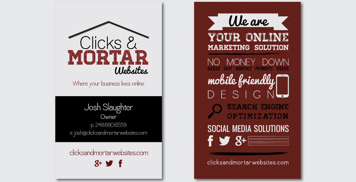 Clicks & Mortar Websites Business Card